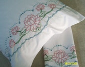 Hand Embroidered Pillowcases  Pink-Water Lilies- standard size