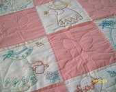 RESEARVED FOR CHRISTINA - Baby Blanket Quilt, Beautifl Colors and Hand Quilted