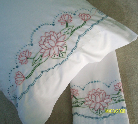 Hand embroidered pillowcases pink water by mygrandmasthings