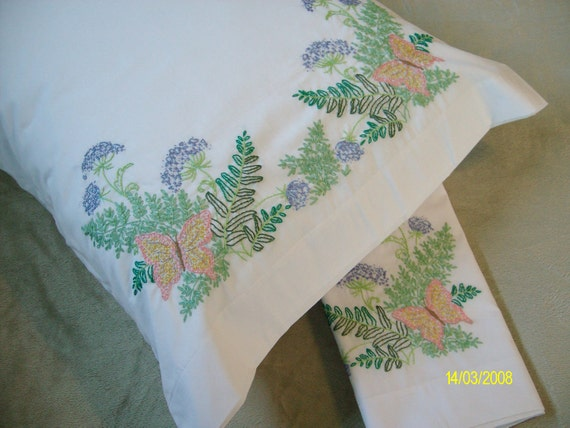Hand Embroidered Pillowcases - Butterflies and Thistles