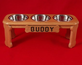 Elevated Dog Feeder, 9 Inches High, Solid Red Oak, One Quart Bowls, FREE Name and Staining
