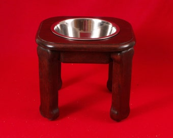 Elevated Large Dog Feeder, Single Bowl, 12 Inchs High, Solid Oak, Two Quart