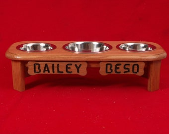 Elevated Dog Feeder Bowl 6 Inch 1 Quart & 2 Quart Solid Oak Wood FREE NAME and STAIN