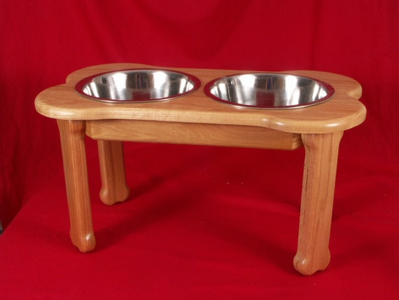 Large Dog Feeder, 18 Inches Hign, 5 Quart, Solid Red Oak, FREE Name and Stain