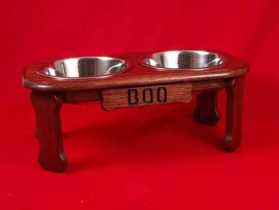 Elevated Dog Feeder Bowl 9 Inch High, Three Quart Bowls, Solid Oak Wood, FREE NAME and STAIN