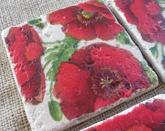 Red Poppies Natural Stone Tile Drink Coasters - Set of 4