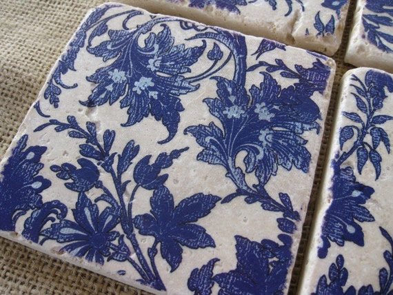 Blue and White Floral - Natural Stone Tile Drink Coasters - Set of 4