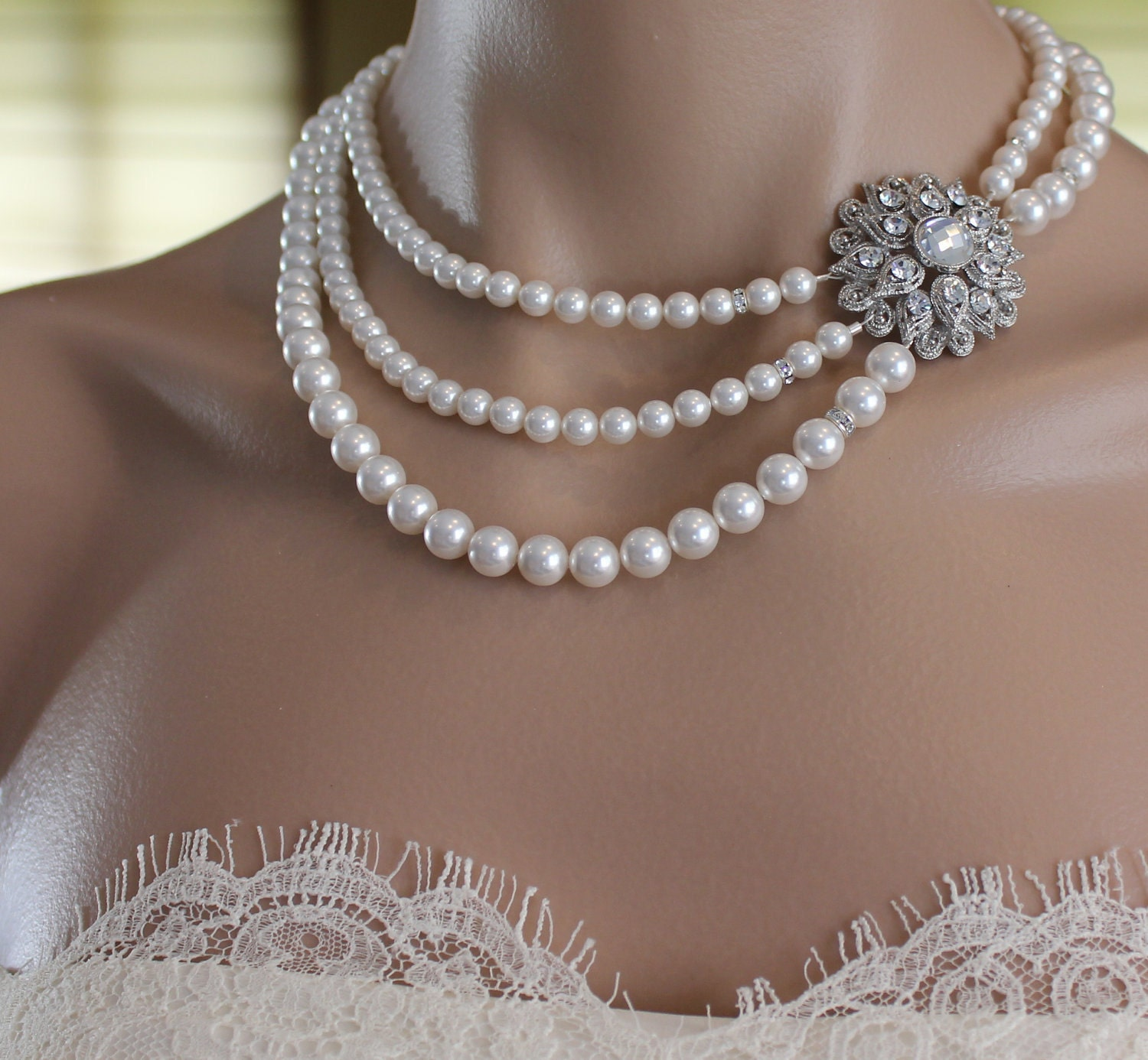 Pearl Necklace Styles: Bridal Necklace Multi Strand Pearl Vintage Style By JamJewels1