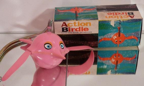 Vintage Pink Action Birdie for Room or Patio Decor