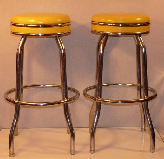Pair of Vintage Canary Yellow Cosco Chrome and Vinyl Soda Fountain Bar Stools
