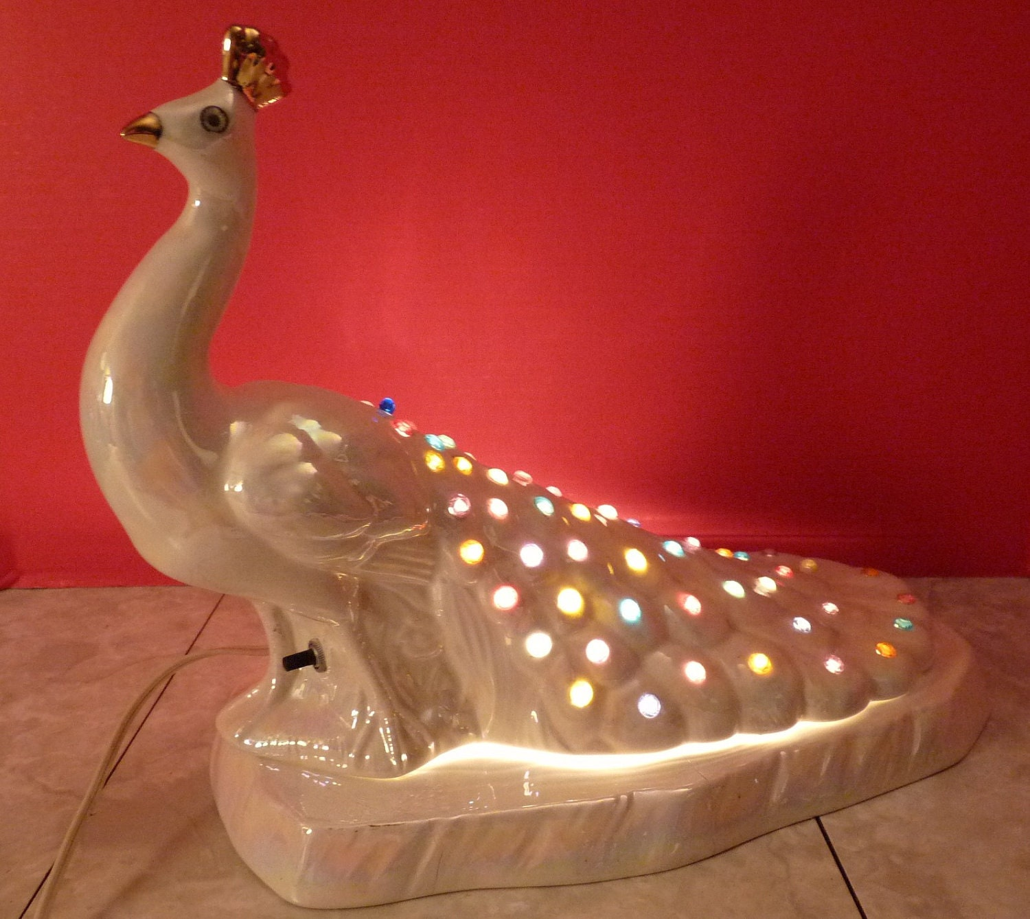 Vintage Ceramic Novelty Colorful Peacock Lamp