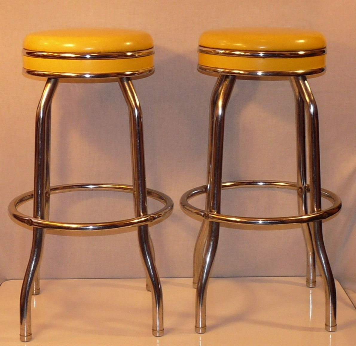Pair Of Vintage Canary Yellow Cosco Chrome And Vinyl Soda