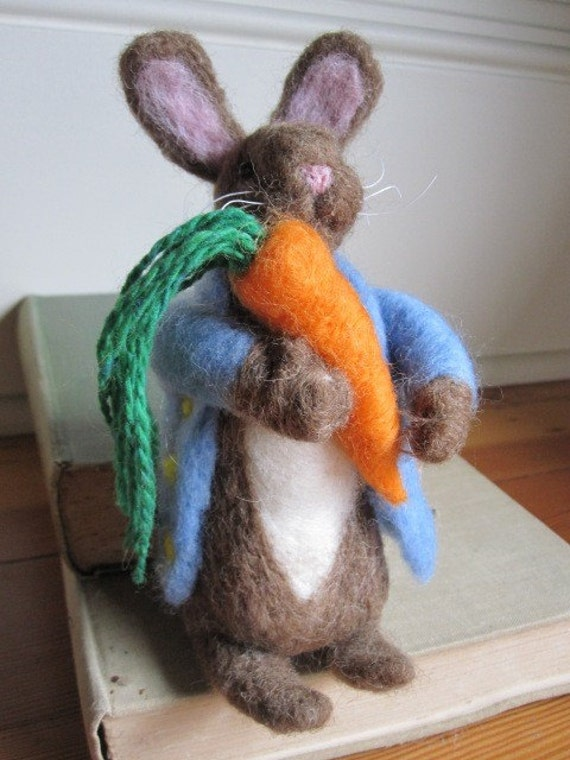 Needle Felted Peter Rabbit/free shipping