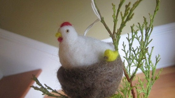 Chicken and chick ornament