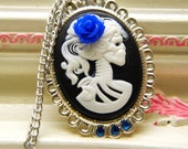 Day of the Dead  Royal Blue Rose Skull Black Cameo Necklace Pendant