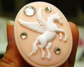 Unicorn Cameo Ring in Baby Pink