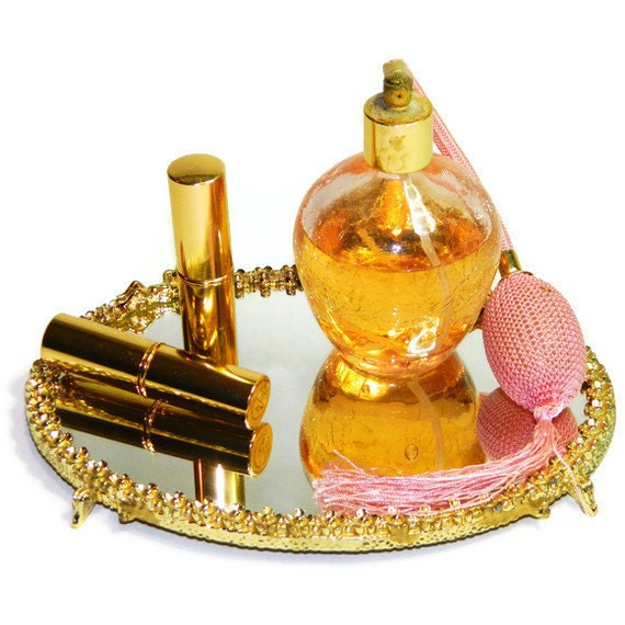 Vintage Mirror Vanity Tray in Gold with Cherubs