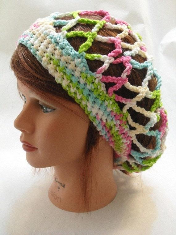 Snood Ombre Summer Hat Crochet Mesh Slouchy Beanie