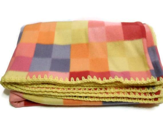 Pixel Square Fleece Blanket with Crochet Edge in Pink Blue Red Orange Yellow