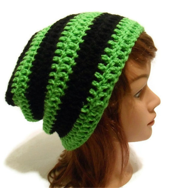 Crochet Striped Slouch Beanie Kendall in Lime Green and Black