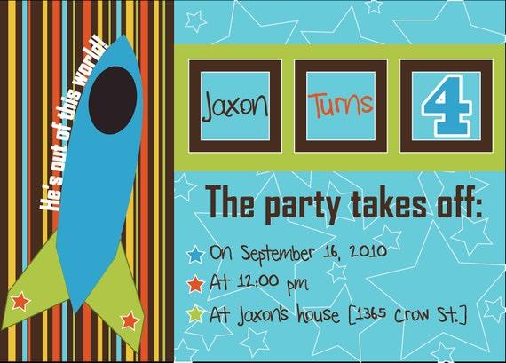 Rocket Ship Birthday Party Invitations