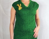 Green Emerald Mustard Nuno Felted Dress