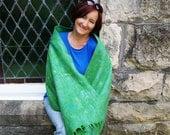 Blue Shawl Blue Scarf Green Shawl Green Scarf Felted Wool Shawl. Gift under 100