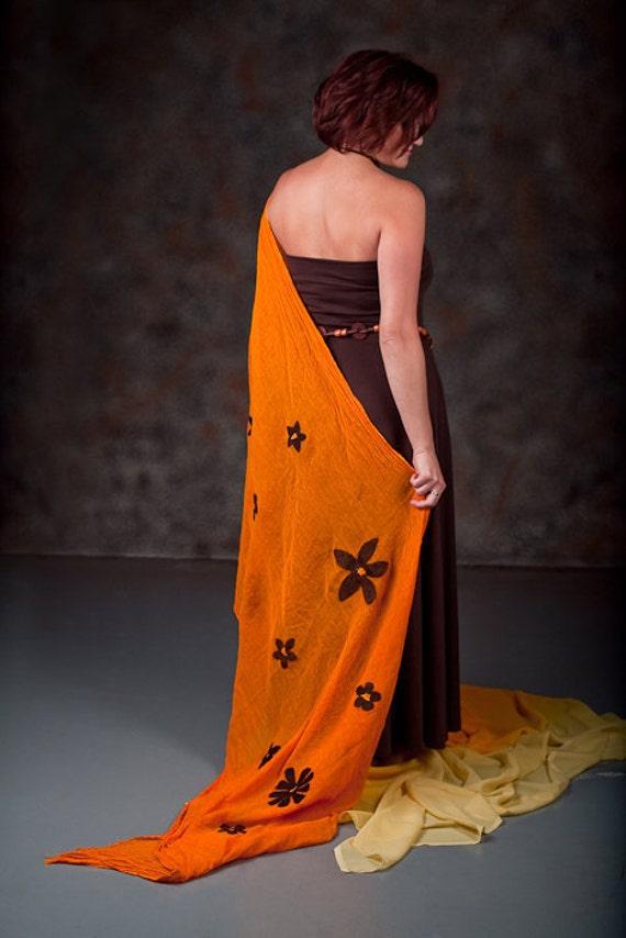 Felted Wool Orange Tangerine Summer Shawl