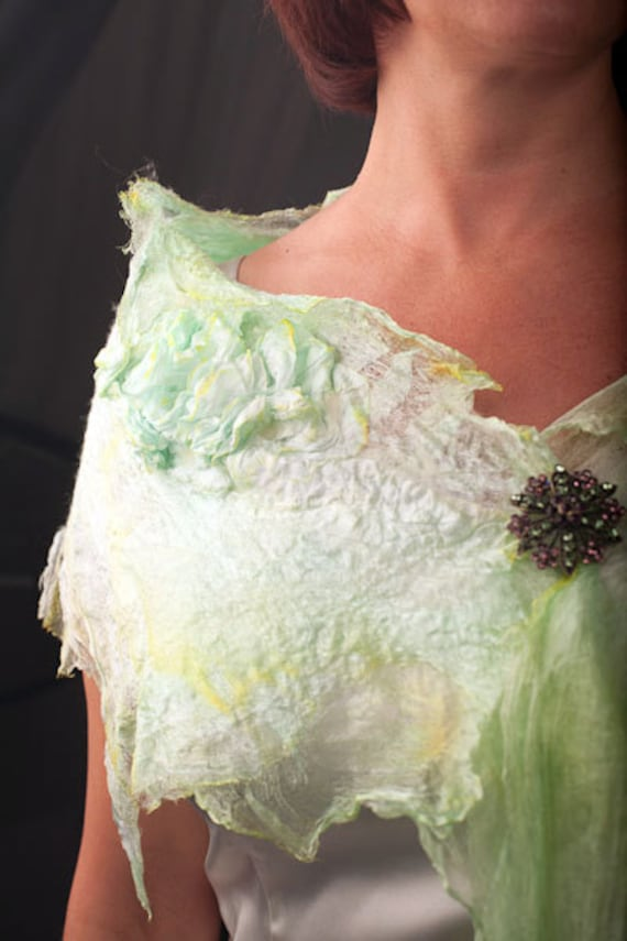 RESERVED FOR MARINA - Green Mint Grass Light Scarf. Gift under 100