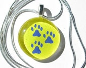 Three Paw Tripod Dog Round Charm Necklace with Silver Chain