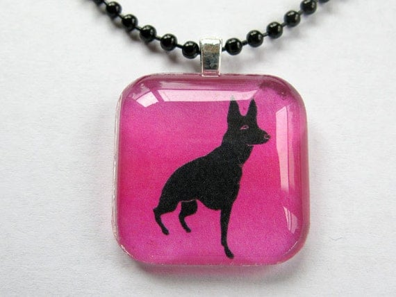 Tripod German Shepherd Dog Square Charm with Free Bead Necklace