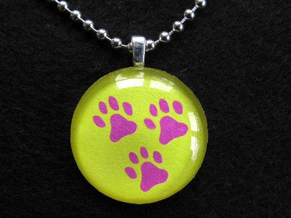 Three Paw Tripod Dog Round Charm with Free Bead Necklace
