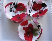Sew on fabric flower embellishement appliques in red  black and ivory