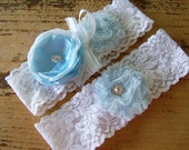 Lace Wedding Garter set vintage style garter shabby chic in blue and white