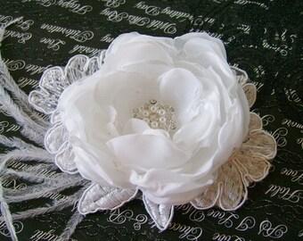 Bridal Hair clip, facinator fabric flower wedding hair accessory in white