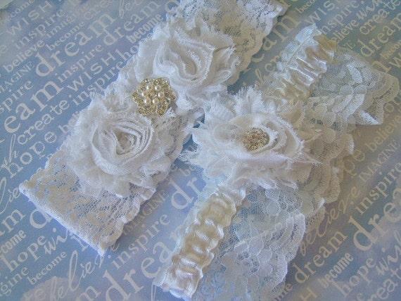 Wedding garter set. Bridal white chiffon rosette bridal garter set