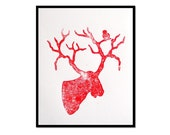 Moose in Red Poster - Linocut Block Print - 8 X 10 - Cotton