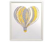Heart Air Balloon - Silkscreen Art Print - Yellow Gray - 8 x 10 Poster - Pen - Limited Edition