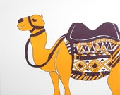 Bedouin Camel - Silkscreen Art Print - Purple Gold - 8 x 10 Poster - Limited Edition