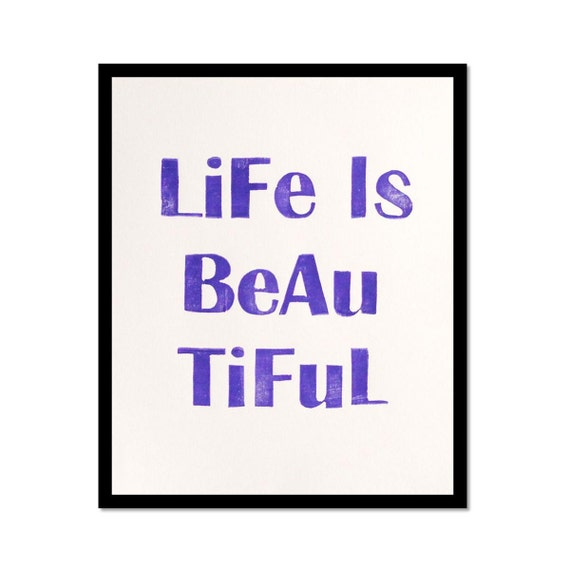Life is Beautiful - Linocut Art Print in Royal Purple 8 x 10 Home Decor
