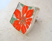 Vintage Porcelain Plate and Silver Adjustable Ring