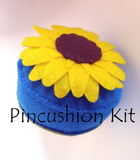 Last one - Clearance Sale - Sunflower Pincushion Kit Yellow Brilliant Blue Recycled felt
