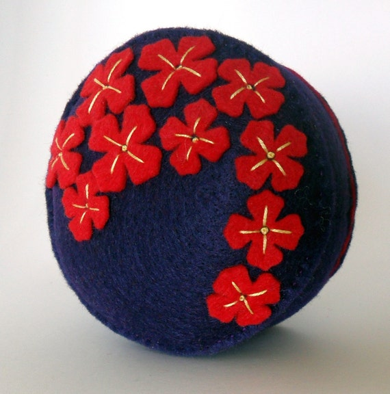 Pin cushion Brilliant red flowers on deep purple recycled felt handsewn embroidered pincushion
