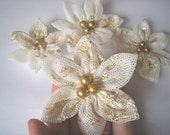 Fashion Sequin-Cream Lace  Flower Sequin Embroidered  Handmade Appliques (4 PCS)