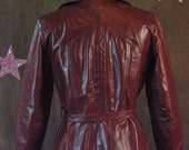 Maroon Leather Pam Greer 1970's Trench Coat with Belt size S/M