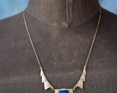LAYAWAY RESERVED for erin-Art Deco Cubistic Czech Necklace with Faceted Lapis Lazuli
