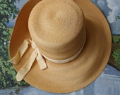Vintage Straw Hat-Frances & Walter Nelkin Straw Wide Brim Hat with Yellow Velvet Ribbon 50's/60's Mad Men
