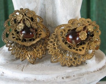 Fur Clips 30's Czech Amber and Brass Filigree 2 Fur Clips