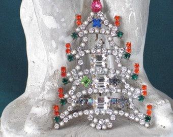 Czech1950's Rhinestone Christmas Tree Brooch
