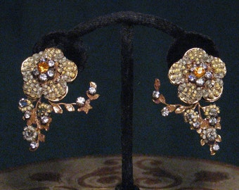 Vintage Robert  Earrings 40's Floral Branch Beaded and Rhinestone Ivory and Gold Bridal Wedding
